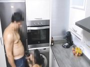 Kitchen sex with busty mature woman