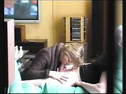 Mommy doing blowjob to a young man and swallows the cum