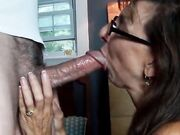 Amateur granny swallows cum after brief oral sex