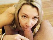Blonde amateur mom performs a blowjob sucking husbands dick